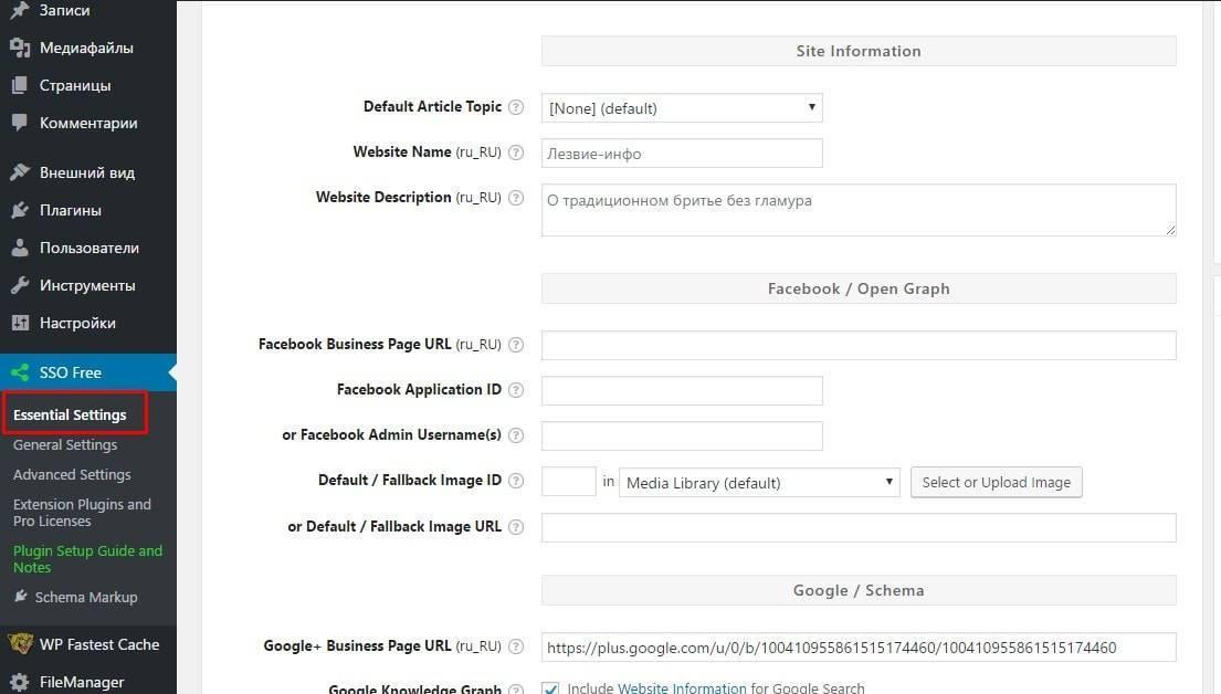 Укажите информацию о сайте и сведения для разметки Open Graph