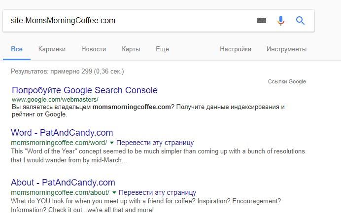 Результаты поиска по наиболее перспективному домену