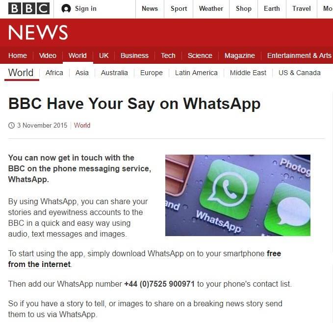 По WhatsApp можно поделиться новостями с BBC