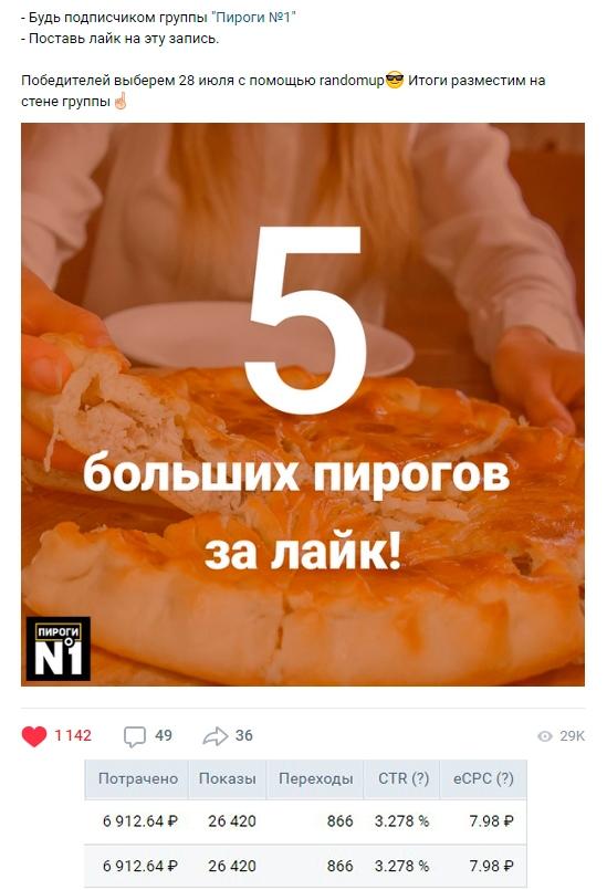 Реклама на розыгрыш: «Пирог за лайк»