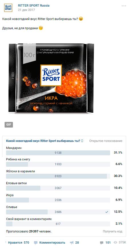 Шоколадный опрос от Ritter Sport к Новому году
