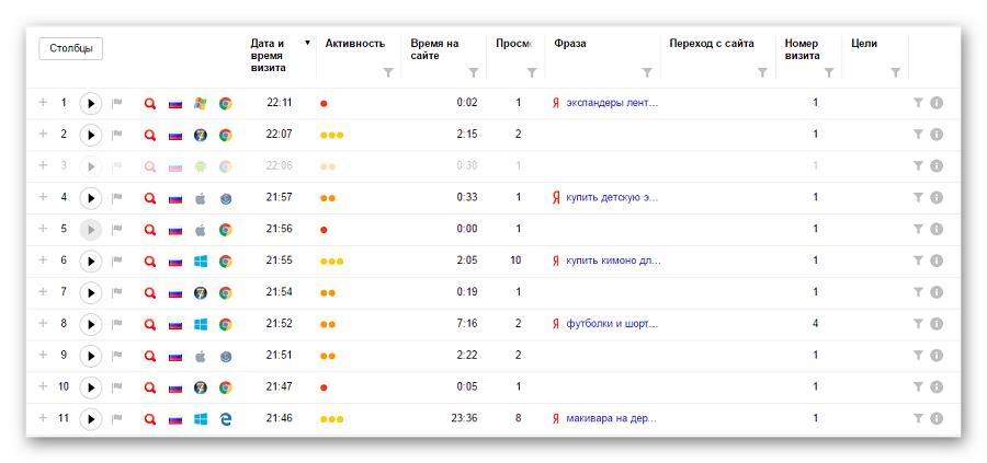 Внешний вид таблицы «Вебвизора»