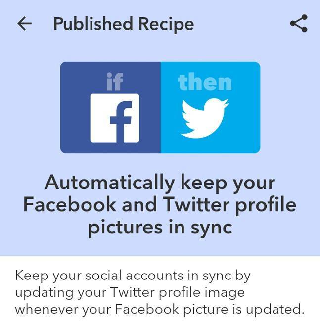 Вот такой рецепт создала я: «когда я публикую изображение в «Фейсбуке», оно автоматически публикуется в «Твиттере»