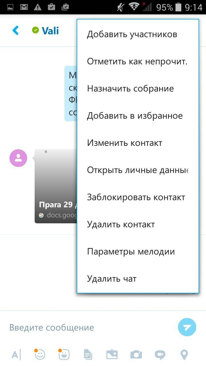 Действия, доступные в «Скайпе»