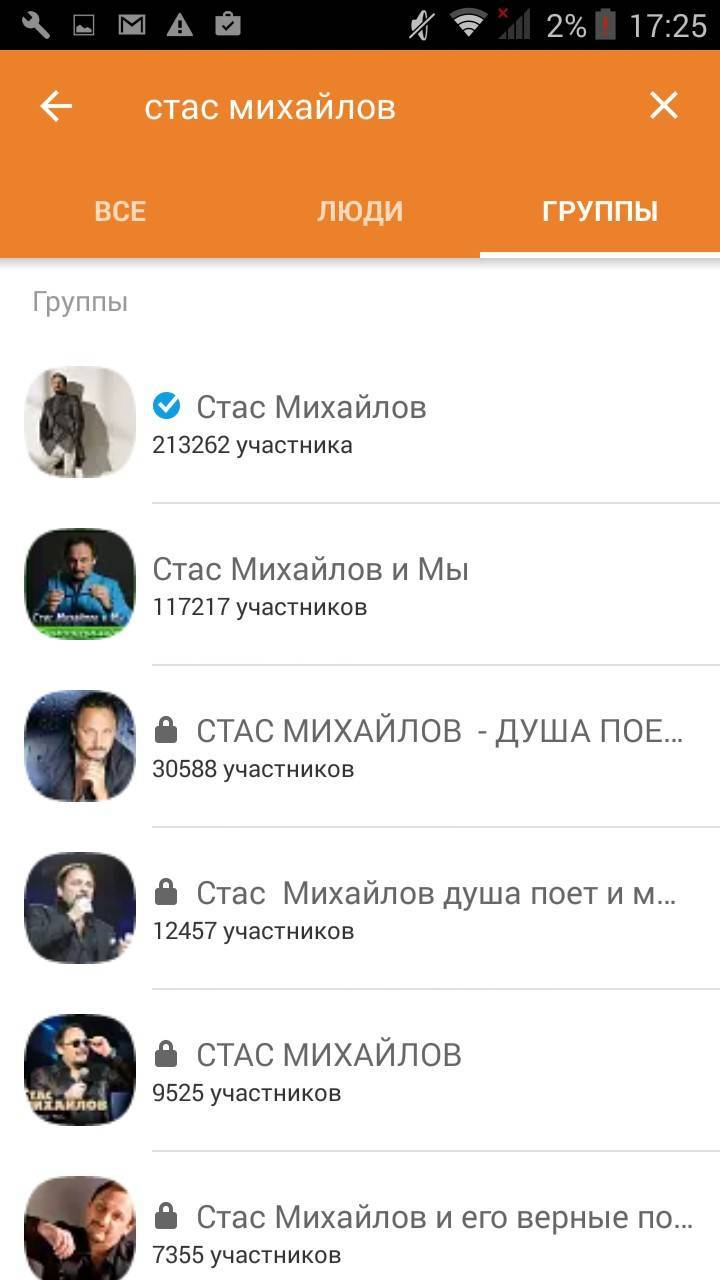 Пример самых популярных групп в «Одноклассниках»