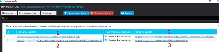 Одна из внутренних ссылок ведет на 1-ый URL, который редиректит на 2-ой. Тот же, в свою очередь, перенаправляет на 3-ий. Чтобы сэкономить лимит обхода можно сразу направить робота на 3-ий URL, без лишних редиректов