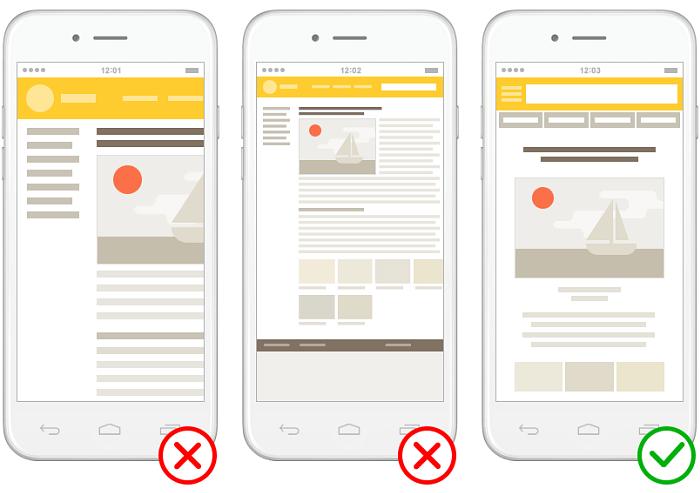 Плохие и хороший примеры отображения сайта на мобильных устройствах