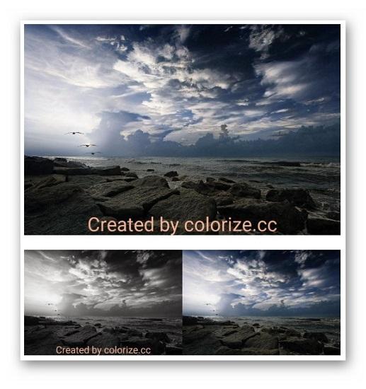 Черно-белое фото раскрашено вполне реалистично, но морю не хватает немного красок