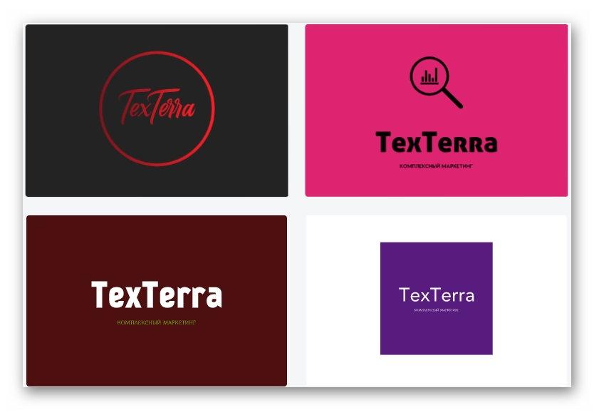 Вот какие логотипы были предложены для TexTerra – можно выбрать любой, чтобы доработать или посмотреть, как он будет выглядеть в разных форматах