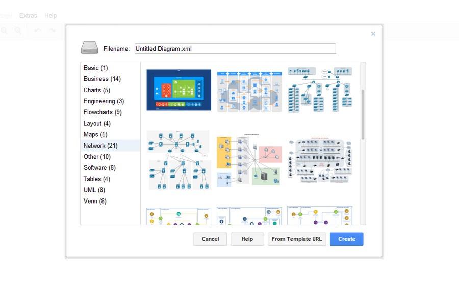 Большой набор шаблонов позволяет быстро создавать схемы для любых сфер деятельности