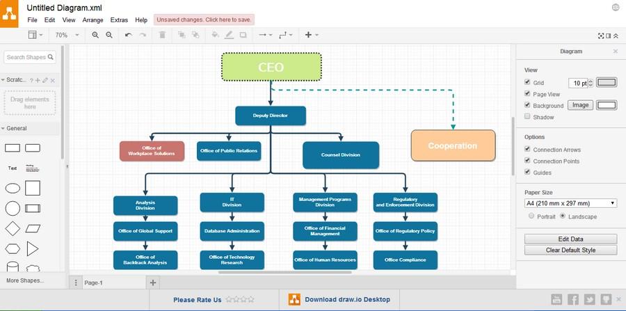 Рисование простой иерархической структуры с помощью шаблона. В левой колонке находятся элементы, а в правой – инструменты для редактирования