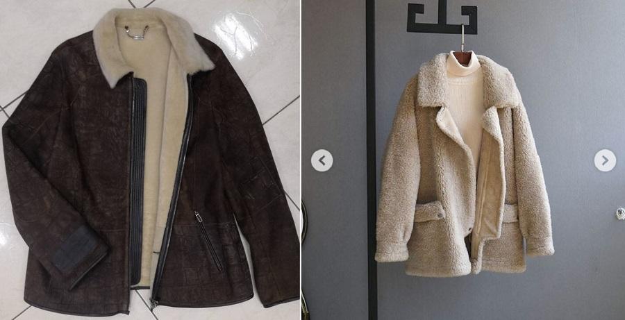 У дубленки слева нет товарного вида, хотя оба фото из Instagram-магазина