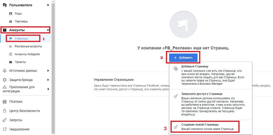Окно создания новой страницы Facebook