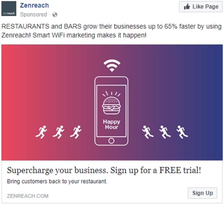 Привлекайте внимание, например, с помощью яркого градиента, как это делает компания Zenreach