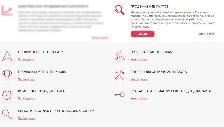 Состав услуги «Продвижение сайтов»