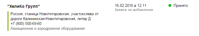 Регистрация компании «Хелико Групп» в «Яндекс.Справочнике»