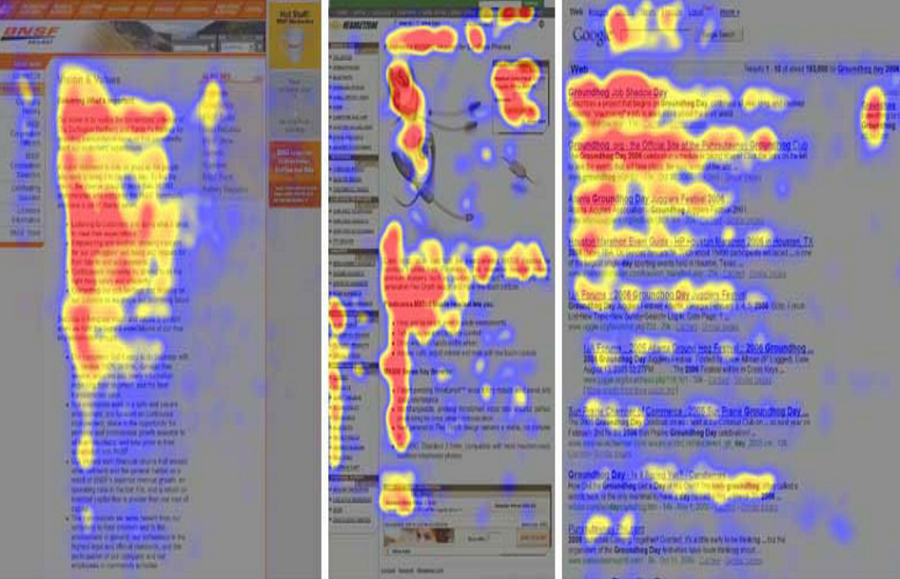 Взгляд пользователя сканирует страницу по траектории, похожей на английскую букву F