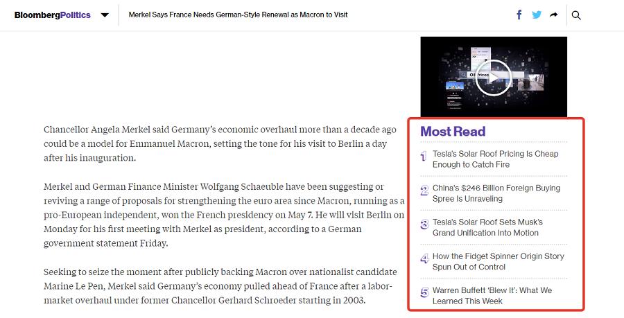 Анонс популярного контента на сайте Bloomberg