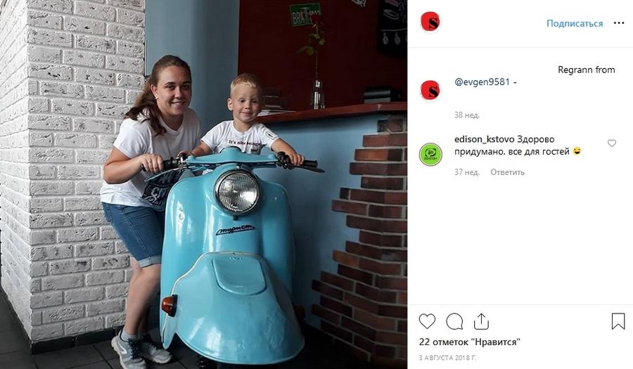 Фишка в интерьере – с этим мотоциклом грех не сфотографироваться!