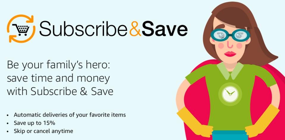 Слоган Amazon: «Стань героем свой семьи: сэкономь время и деньги при использовании Subscribe & Save»