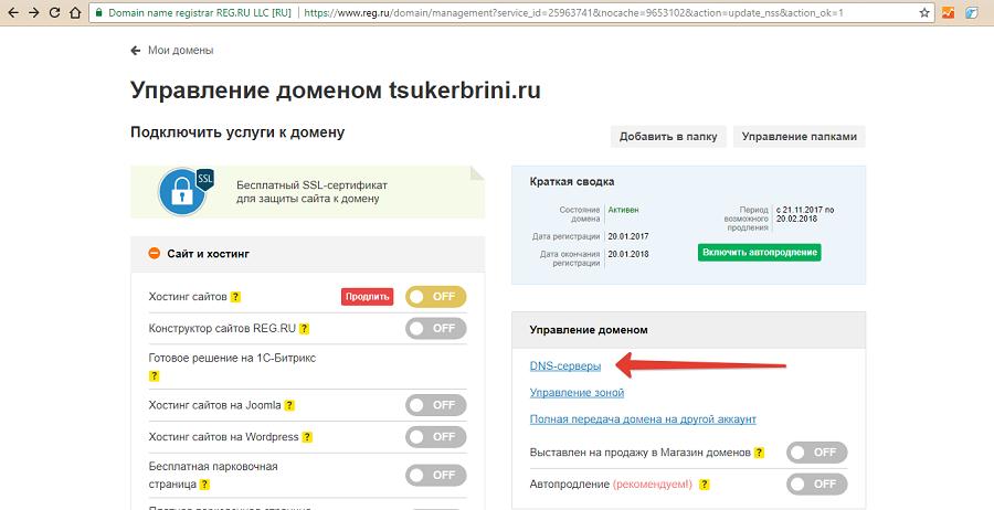 Выбираем раздел DNS-серверы