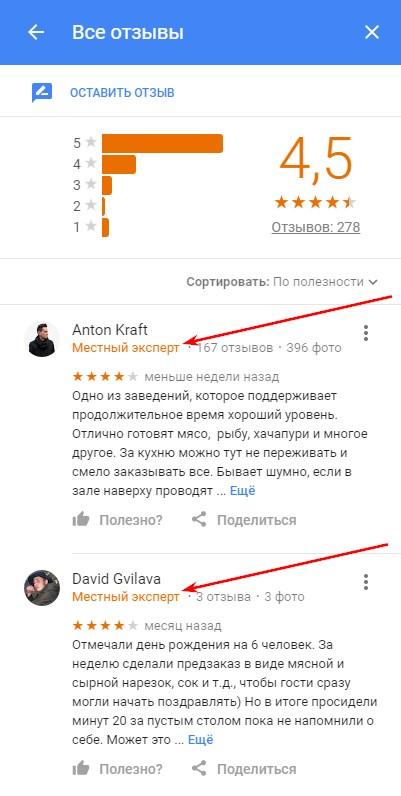 Отзывы и «звездная оценка» мест, которая отображается при поиске Google