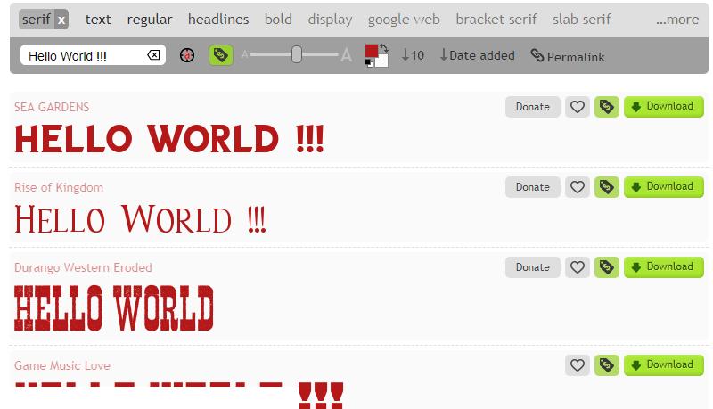 1001fonts.com можно «играть» с цветом, размером, начертаниями шрифтов