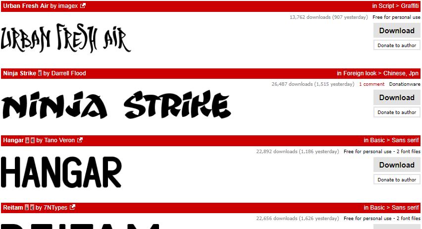 Примеры шрифтов на сайте dafont.com