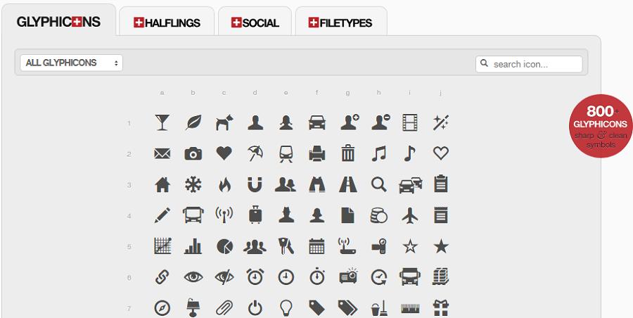 Так выглядят glyphicons от дизайнера Jan Kovarik