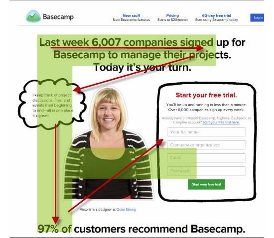 Одна из страниц сайта Basecamp