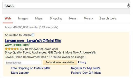 Подписка на новостную рассылку Lowe's на странице выдачи