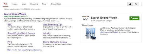 Превью последнего поста в Google+ занимает большую площадь на странице выдачи