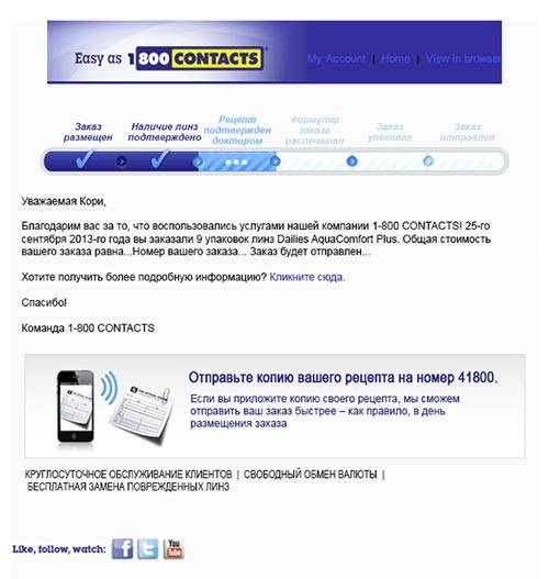 Транзакционное сообщение от компании 1-800 CONTACTS