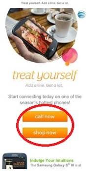 Рассылка от компании AT&T – мобильная версия