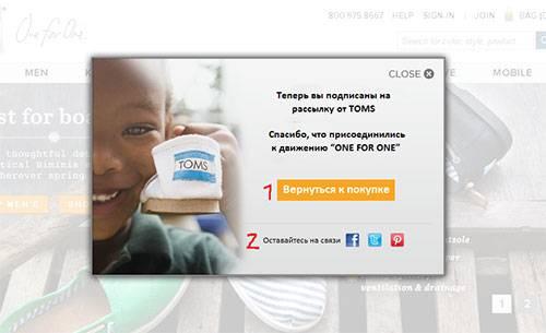 Обратите внимание на 2 призыва к действию: клиент может присоединиться к бренду в социальных сетях либо продолжить совершать покупки
