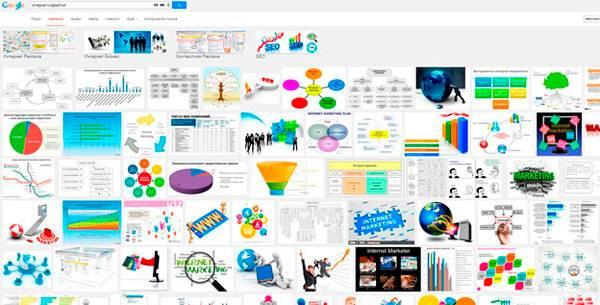 Результат поиска по картинкам по общему запросу «интернет-маркетинг»: глаза разбегаются, но хороших фото нет