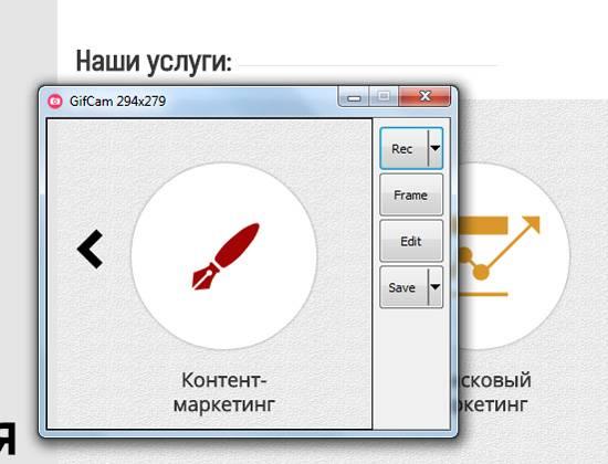 Интерфейс программы Gifcam