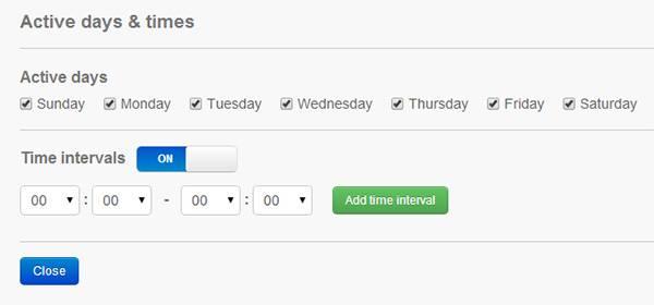 Выбираем дни недели и период времени, когда сайт должен быть заблокирован