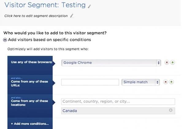 Optimezely позволяет сегментировать потребителей, участвующих в тестировании