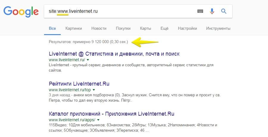 Более 9 миллионов результатов в выдаче, значит, Google считает главным сайт с www