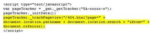 Код отслеживания посещений страницы 404