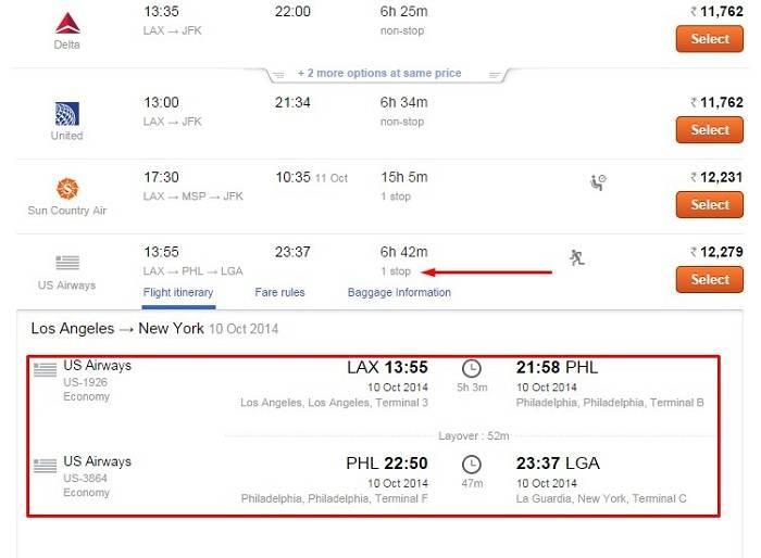 Подробная информация о продолжительности полета и пересадке открывается на существующей странице после нажатия на ссылку «1 stop»