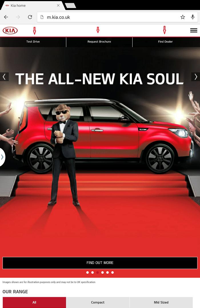 Мобильная версия сайта Kia на экране планшета: верхняя панель меню позволяет найти автосалон, заказать тест-драйв и скачать каталог авто