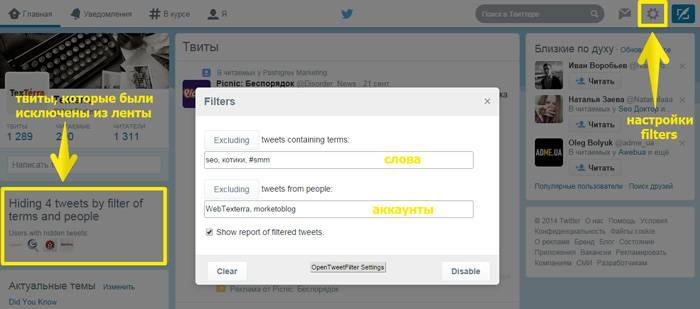 Настройки плагина Open Tweet Filter