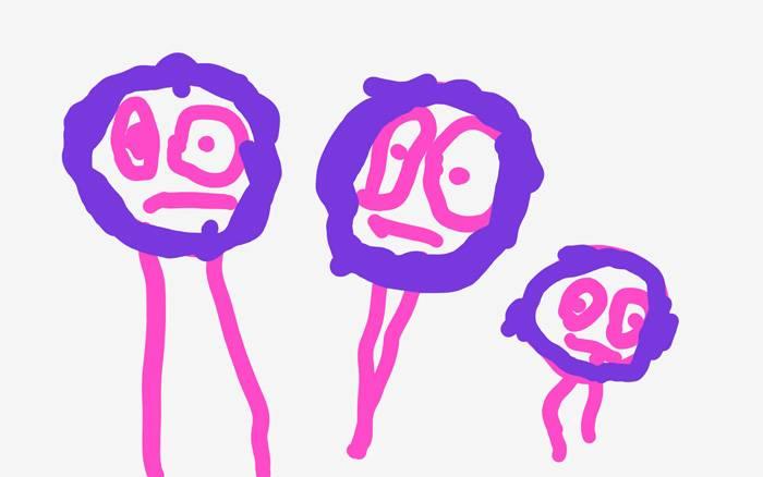 Папа, мама и я: рисунок трехлетнего ребенка