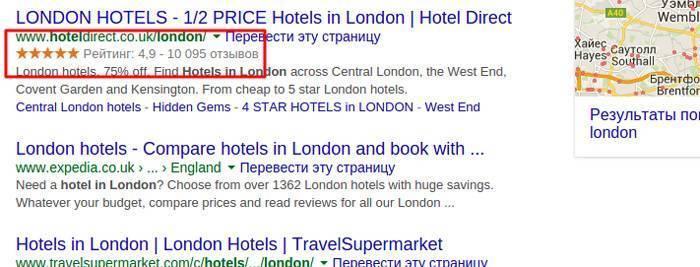 Пример расширенного сниппета: в выдаче отображается рейтинг отеля
