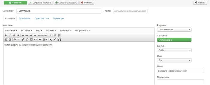 Веб-разработка: Указываем название и описание раздела