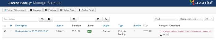 Веб-разработка: Меню управления резервными копиями