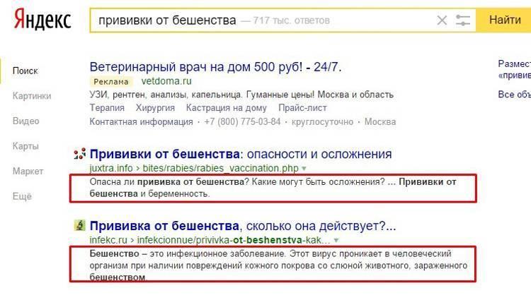 Сниппеты дополняют заголовки. Они подтверждают или опровергают соответствие страницы информационным потребностям пользователя