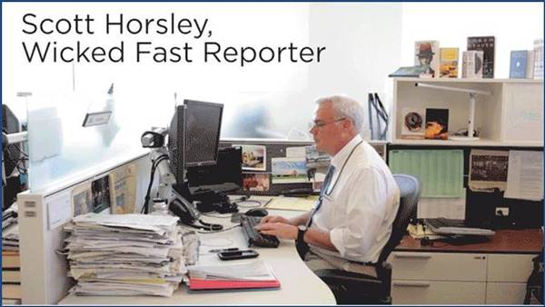 Скот Хорсли состязается с роботом. Источник: An NPR Reporter Raced A Machine To Write A News Story. Who Won? NPR, May 29, 2015